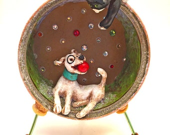 Puppy | Kitten | Fimo | Polymer Clay | Sculpey | Figurine | Diorama | pets | tuna can | one of a kind | OOAK | Nic Nac | whimsy | decor |