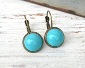Small bohemian dangle earrings,turquoise drop earrings,simple earrings. Tiedupmemories