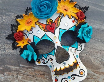Leather Sugar Skull Mask with Sacred Heart - Black Lace Headdress with Turquoise Leather Roses - Dia de los Muertos, Day of the Dead Costume