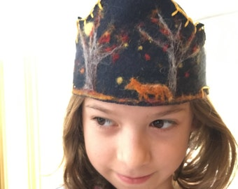 Wool Autumn Night Fox and Tree Crown- for children or adults