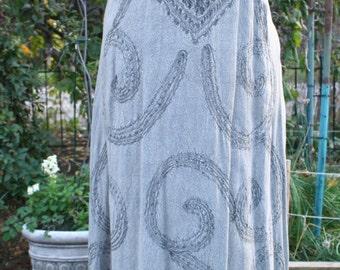Gray rayon India hippie boho dress maxi long sundress embroidered medium