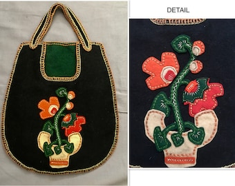 Grapes of Wrath 1930's Handmade Felt Purse with Applique