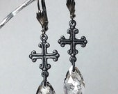 Dark romance black  medieval cross Swarovski  crystal  earrings