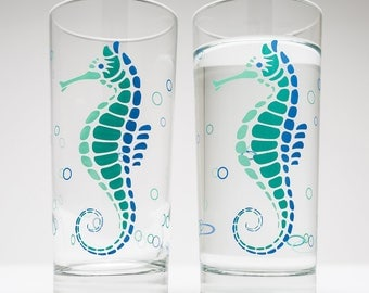 Seahorse Water Glasses - Set of 2 Everyday Glasses, Mother's Day Gift, Gift for her, Seahorses, Beach Themed Glassware, Beach Decor Coastal