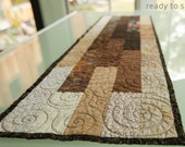 Fall Colors Table Runner or Wall Hanging Modern Table Runner Neutral Kitchen Decor Table Center Piece Quilted Table Setting Quilt Runner