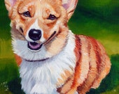 Pembroke Welsh Corgi Original Fine Art Painting on 8 x 10 canvas