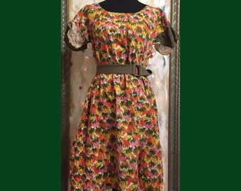 SALE! Colorburst Dress M-XL -  Handmade, vintage fabric, butterfly sleeve tunic dress, spring summer women's clothing, bright sunny dresses