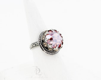 Size 8.5 Enchantress Ring Ready to Ship  // Pink Chaffon Swarovski and Sterling Silver statement ring, by BellaLili, Welded Silversmith