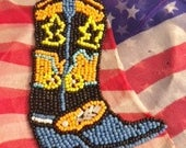 Beaded Vintage Patch  Western Cowboy Boot Design Beaded Patch