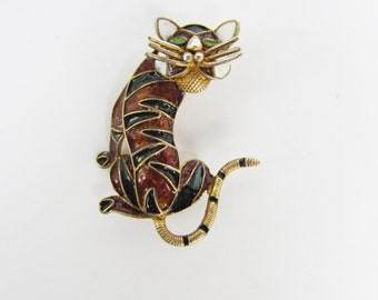 Vintage Chinese Export 800 Silver with Gold Wash Cloisonne Enamel Tiger Brooch Pin   0717