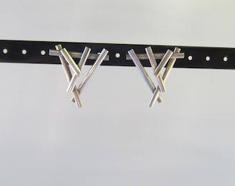 Modernist Sterling Silver Geometric Earrings - Signed gB - 1525B