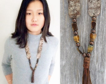 Rustic Metallic Leather Necklace with Distressed Brown Tassel and Tiger Eye Stones