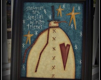 Primitive Snowman Stars 8x10 Framed Canvas Holiday Home Decor Picture