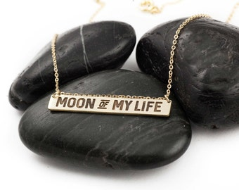 Moon Of My Life. Khaleesi. Khal Drogo. Love. Game of Thrones. Quotes. SciFi. Pop Culture. Typography. Anniversary. Brass. Necklace.