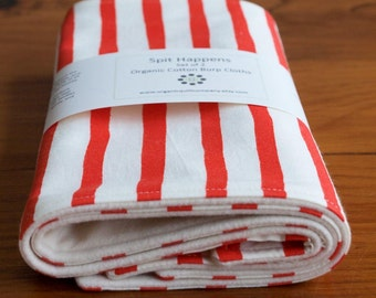 Red and White Sailor Stripe Baby Burp Cloths Set, Nautical for Baby Shower, Modern Nursery Baby Accessories, Striped Burping Cloths Handmade
