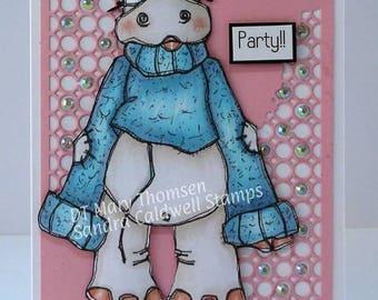 1413 Sweater Hippo Digi Stamp