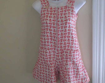 Sailor print Vintage Romper Red and White Anchors mini jumpsuit 60s vintage jumpsuit Nautical romper summer Sunsuit XS S
