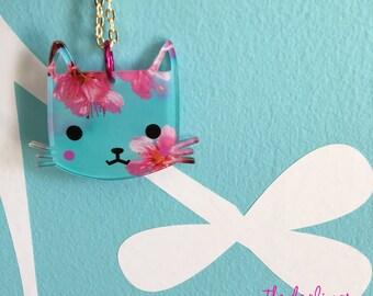 "SAKURA KITTY  ""darling kitties"" 2017 laser cut silkscreen print necklace, plexiglass, acrylic, perspex"