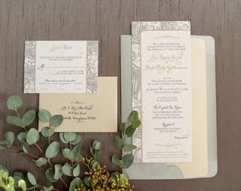 Wedding Invitation - SAMPLE - Evin's Plantable Paisley Invitation