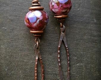 Enameled Beads, Charms, Asian, Dangle, Glass, Artisan Made, Earthy, Organic, Copper Beaded Earrings
