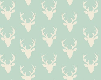 NEW Mini Buck Forest in Mint, Hello Bear Fabric, Deer Fabric, Bonnie Christine for Art Gallery Fabrics, Woodland Baby Quilt- Choose the cut