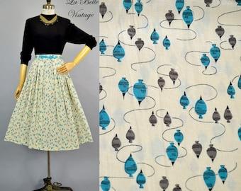 Novelty Yo Yo Top Print Skirt ~ Vintage 1950s Silk Full Skirt S
