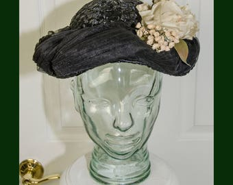 Vintage 1950's Arnold Constable Woman's Floral Hat with Netting and Straw