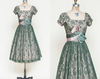 Vintage Lace Party Dress --- 1950s Green Full Skirt Dress