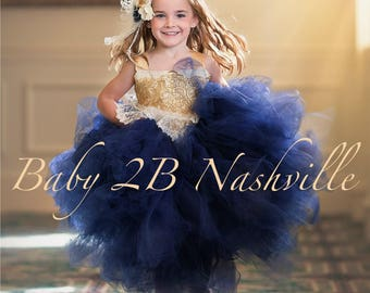 Navy Dress Flower Girl Dress Gold Dress Tulle Dress Lace Dress Wedding Dress Birthday Dress Toddler Tutu Dress Navy Girls Dress