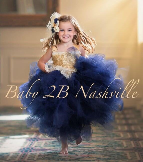 Navy Dress Flower Girl Dress Gold Dress Tulle Dress Lace Dress Wedding Dress Birthday Dress Toddler Tutu Dress Navy Girls Dress