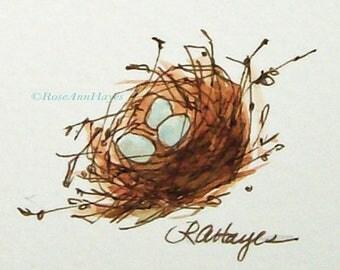 Birds Nest Robin Eggs Original Watercolor Painting Nature Garden Housewarming Gift Miniature
