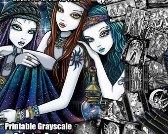 17 Pages - Set 3 - Printable Coloring Book -Grayscale - Celestial Beauties - Myka Jelina - Fairy Coloring Book - Fantasy Coloring Pages