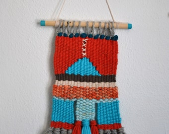 Turquoise Blue Rusty Red Gray Woven Wall Hanging Small Space Decor Weaving Geometric