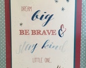 5 x 7 wall art, baby shower, quote, custom, watercolor, blue, red, children's room, dream big