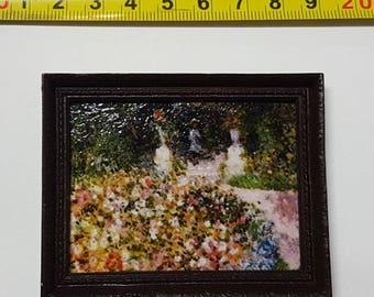Renoir framed painting The garden - for 1:12 dollhouse