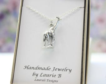 Giraffe Charm Necklace, Friendship Gift, Sterling Silver, Bestie Gift, Wildlife Charm, Animal Necklace, Zoo Necklace, Thank you card