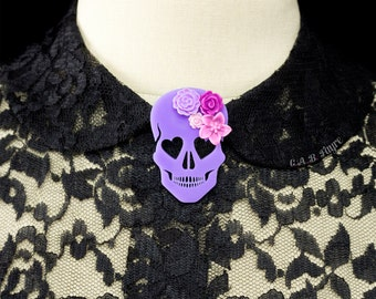 Blooming Love Skull Brooch - Lavender - Heart Eyed Skull with Flowers  (C.A.B. Fayre Original Design)