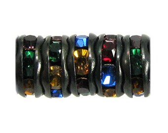 Rhinestone Rondelle, Jet Black, Multi Jewel Tone, 6 mm, 12 Pc. C467