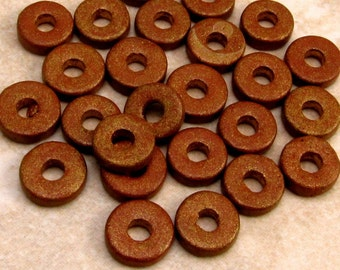Round Washer, Greek Ceramic Beads, 8mm, Antique Gold, 25 Pieces, M251