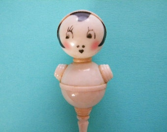 Vintage Baby Rattle with Flapper Girl Face Celluloid Crib Toy