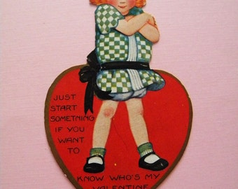 Vintage Valentine's Day Card Tough Girl Just Start Something..