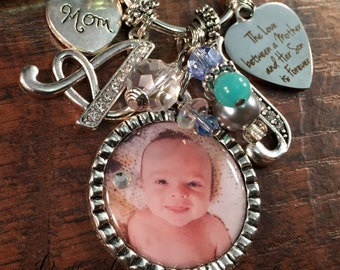 Gifts for Mom, Mother's Day Gift, PHOTO pendant, Grandma gift, First time mom gift, First time grandma, initial, mom from son mom daughter