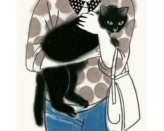 """Cat Art print - Maurice and Madeline - 4"""" X 6"""" - 4 for 3 SALE"""
