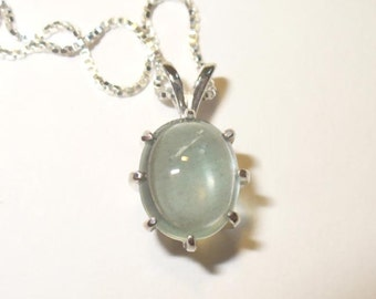 Natural Aquamarine Cabochon Pendant Necklace in Sterling Silver ~ SALE
