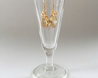 Bouquet, bridesmaids earrings in gold pearl and golden shadow crystal, Free Shipping to USA
