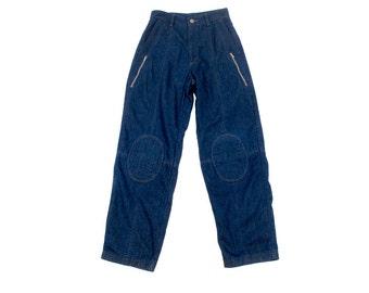 Vintage 80s Pants - 80s Landlubber Pants - High Waist Pants - High Waist Jeans - 80s Landlubber Jeans - Padded Knees - 80s Zipper Pants S