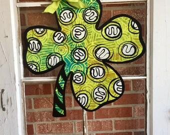 St Patricks Day Shamrock, Green Four Leaf Clover Door Hanger