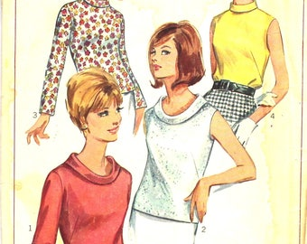1960's Back Zippered Blouse Bust 32 Simplicity 6845 Vintage Sewing Pattern