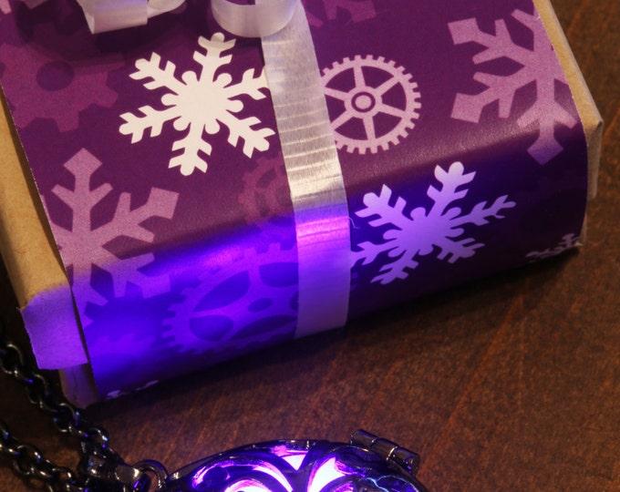 Purple Glowing Necklace, Glowing Pendant, Drop locket, Glowing LED orb ,Gunmetal Black, Valentine Winter Season Holiday Gift wrapping