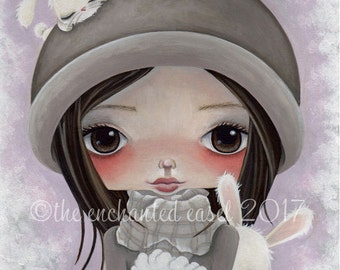 Big Eyed Art Print, Winter, Girls Room, Snow Bunnies, Nursery Art, Girls Wall Art, Cute, Whimsical, Children's Art, Snow, White Rabbits